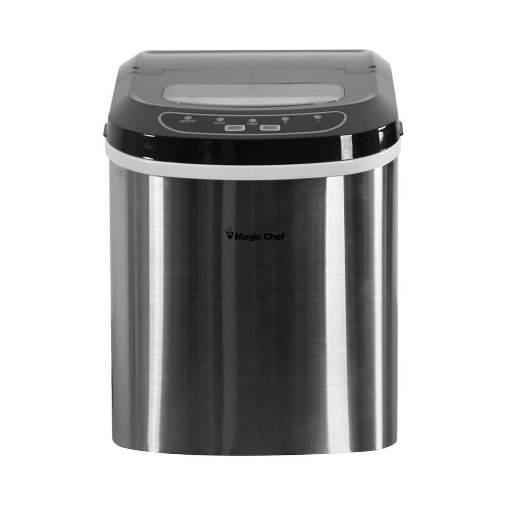 Magic Chef 27 Lb Portable Countertop Ice Maker In Stainless Steel Hnim27st The Home Depot In 2020 Portable Ice Maker Ice Maker Magic Chef