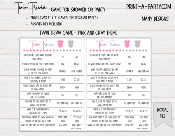 TWIN TRIVIA Game for All Twins: Girls, Boys, One of Each, Gender Neutral – for Baby Shower or Party – INSTANT DOWNLOAD