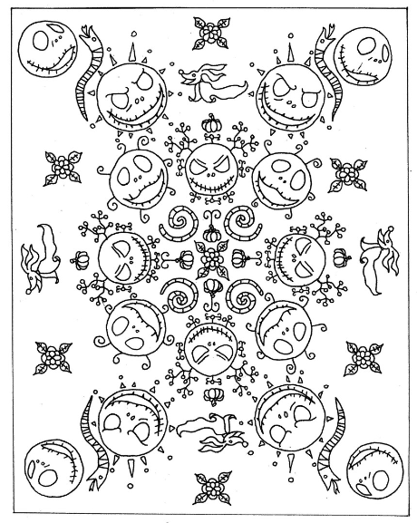 Nightmare Before Christmas Mandala Printable Coloring Book Page