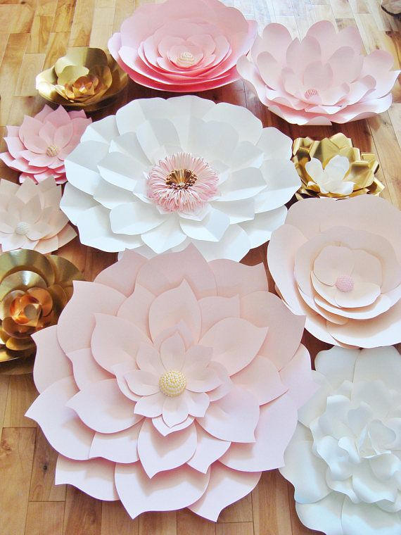 A Pink, White and Gold Paper Flower Backdrop is a beautiful and ...