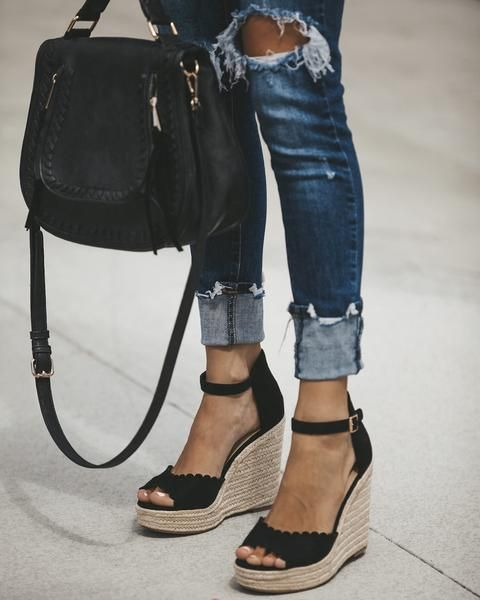Brown with Black trim wedge sandals   Chic high heels, Black