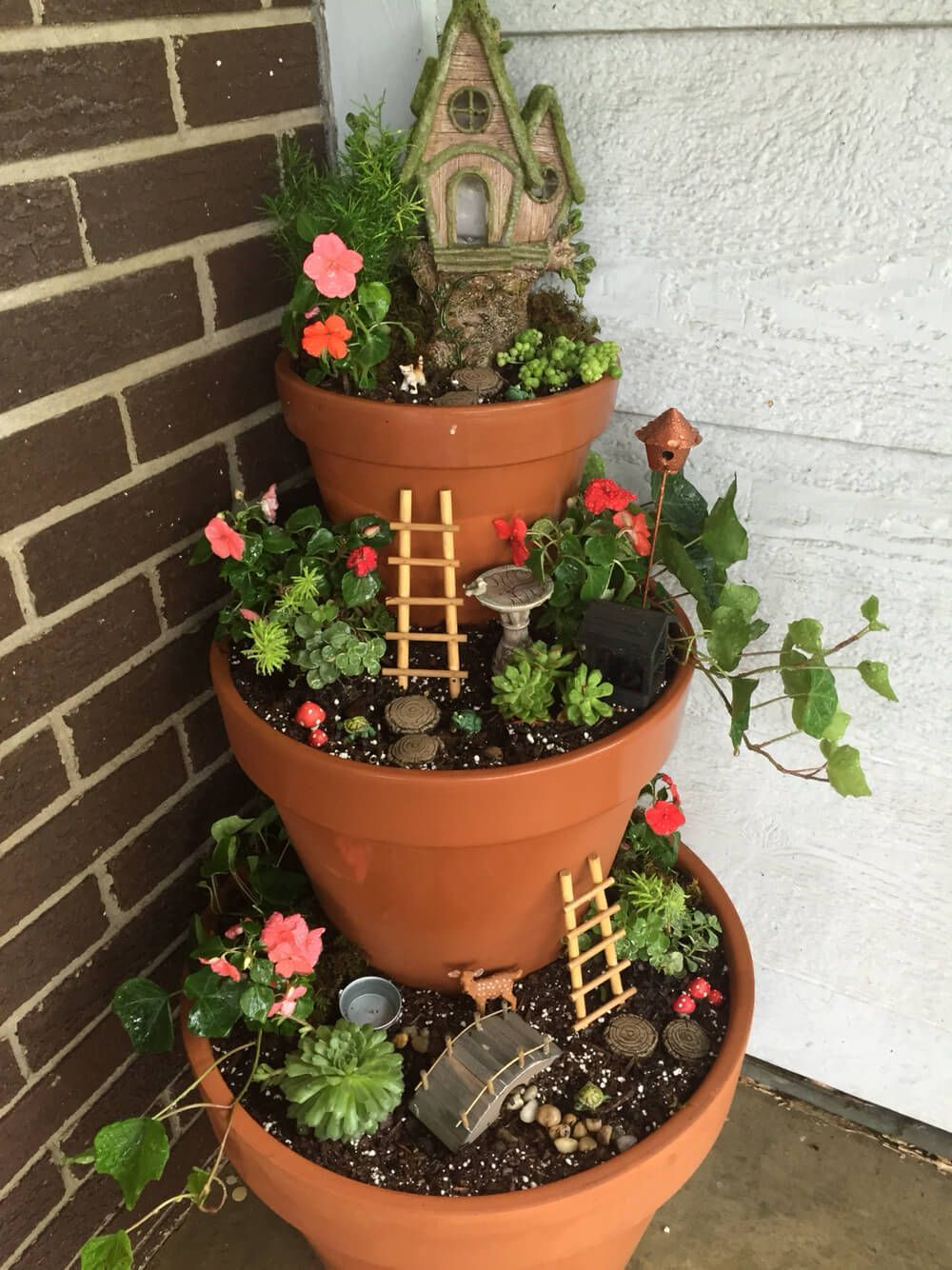 29 Pretty Front Door Flower Pots that will Add Personality to Your Home.  Tiered Front Porch Fairy Garden