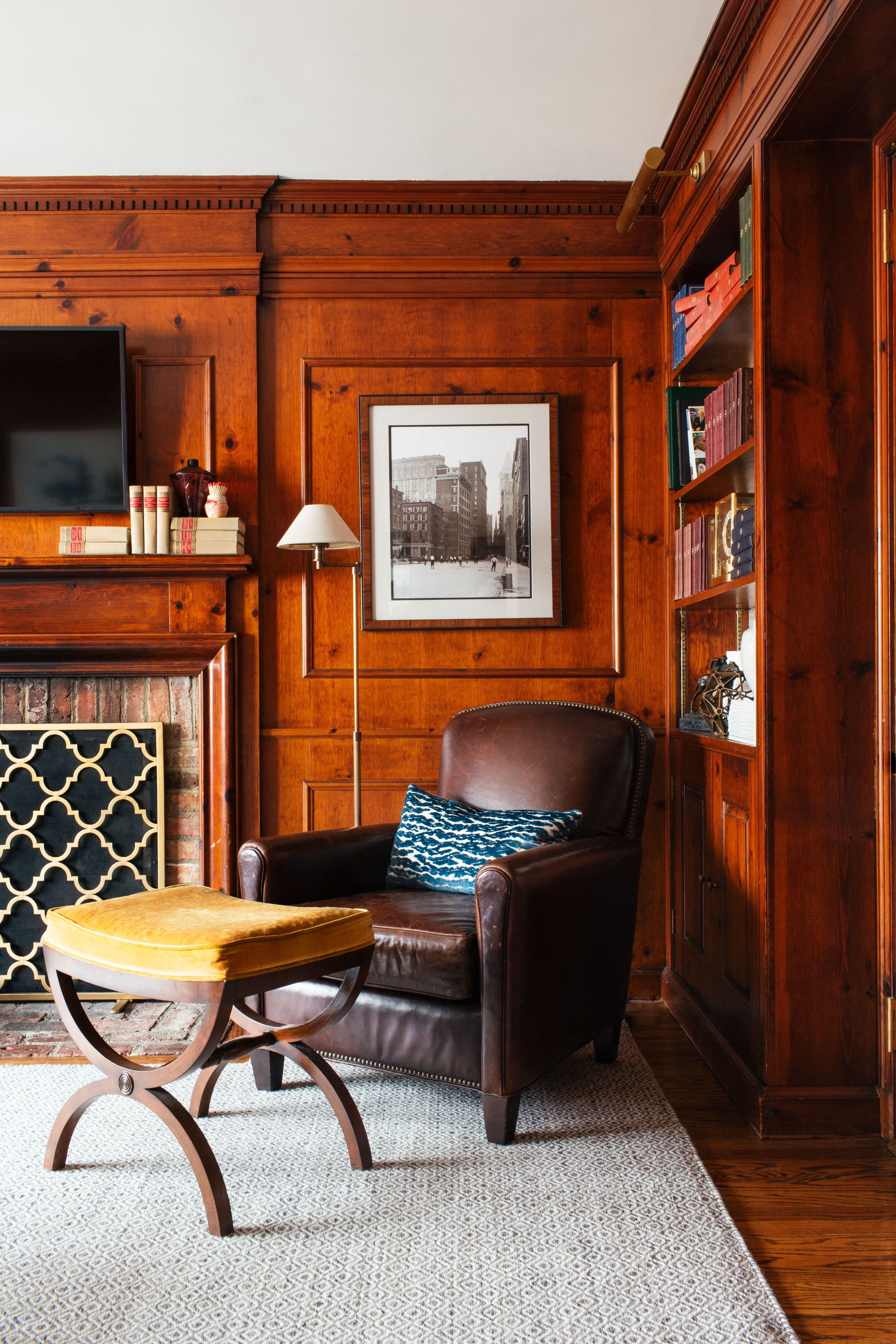 Wood Paneled Library: Library // Wood Paneled Walls // Brown Leather Chair