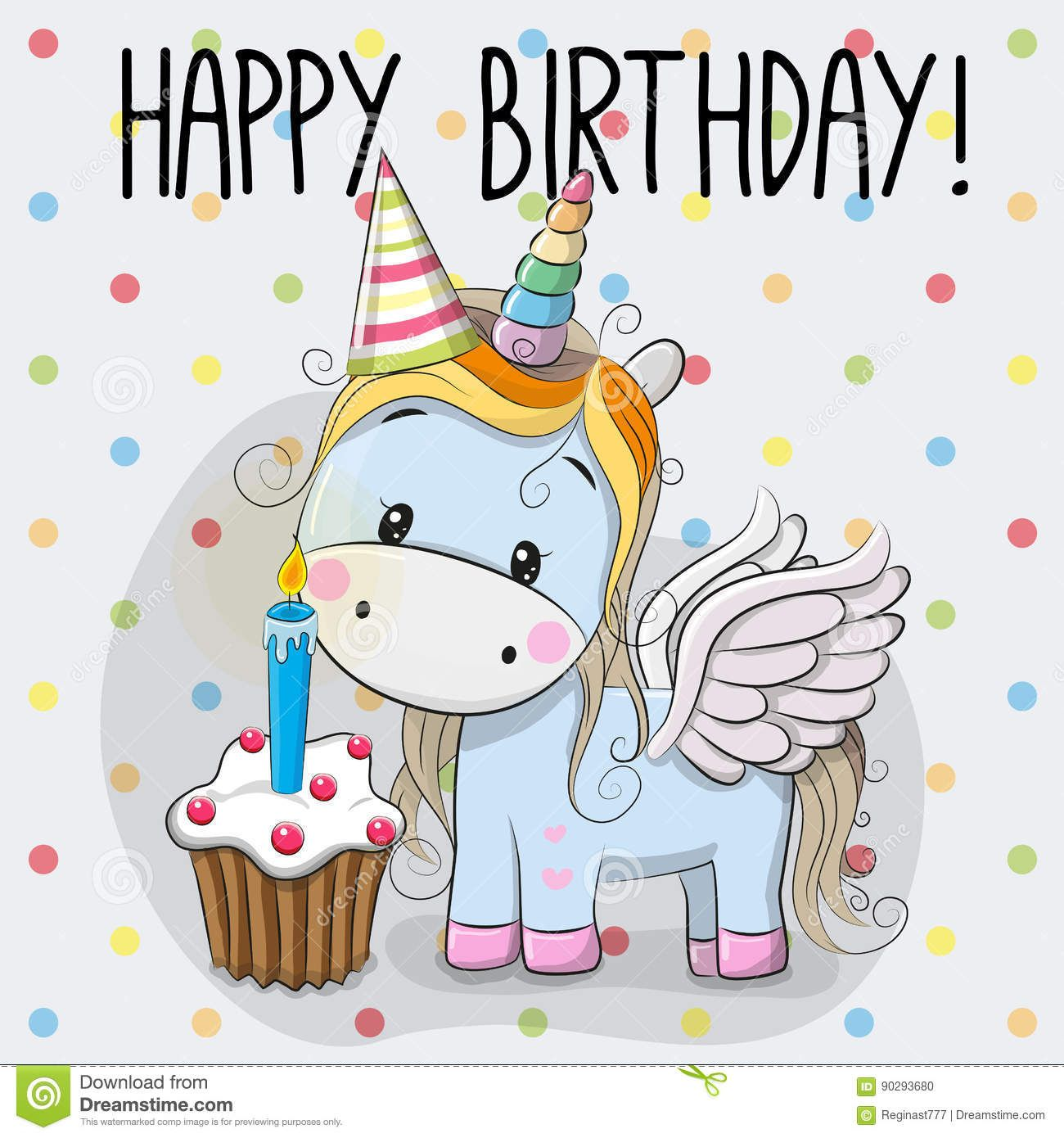 Illustration about Greeting card cute Cartoon Unicorn with