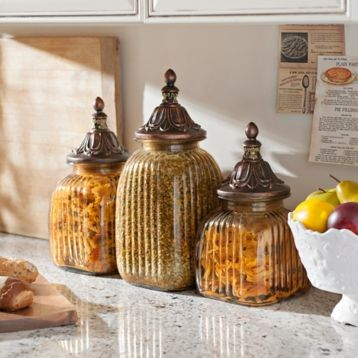 Antiqued Amber Canister, Set of 3   Tuscan style decorating ...