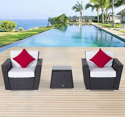 outdoor 3pcs cushioned rattan wicker patio table chair set sectional rh pinterest com