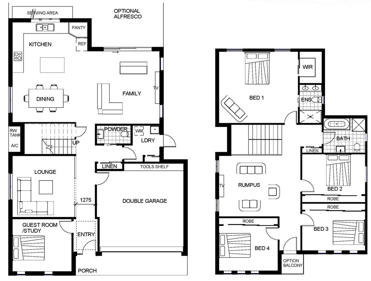 2 storey house floor plan autocad lotusbleudesignorg Two story farmhouse plans