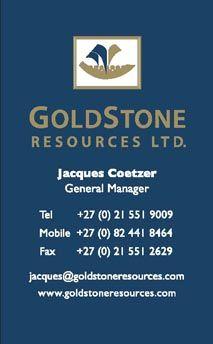 Goldstoneresources Jacques Coetzer 27 0 21 551 9009