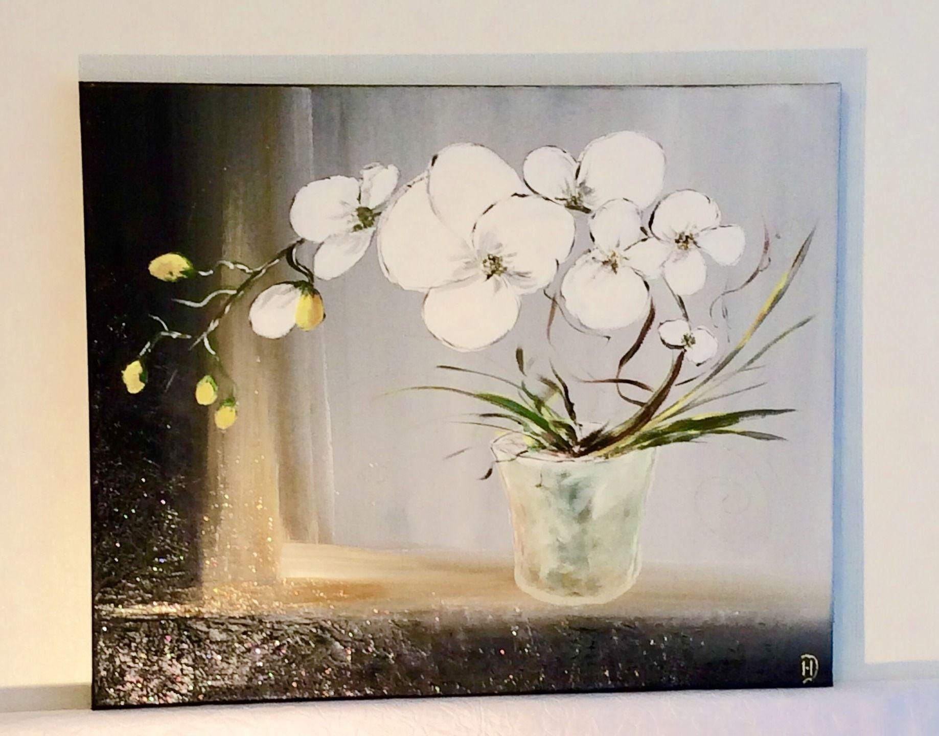tableau orchid e blanche peinture acrylique reserve orchid es pinterest orchid es. Black Bedroom Furniture Sets. Home Design Ideas