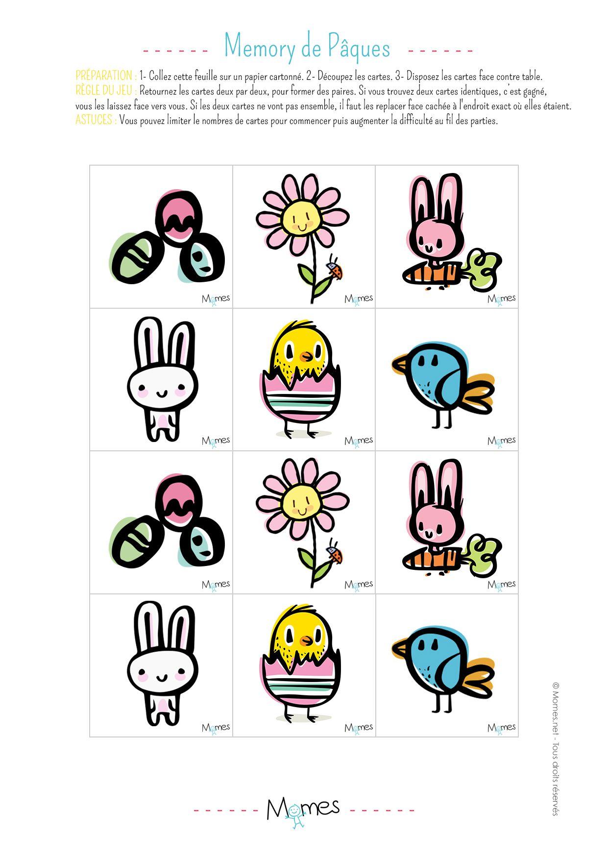 Memory de Pâques à imprimer | A imprimer, Jeux a imprimer et Jeu de memory