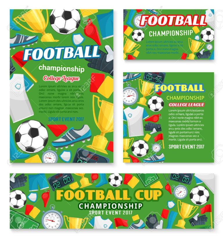 Football Sport Championship Event Banner Of Soccer College League Throughout Soccer Referee G Event Banner Soccer Referee Photography Business Cards Template