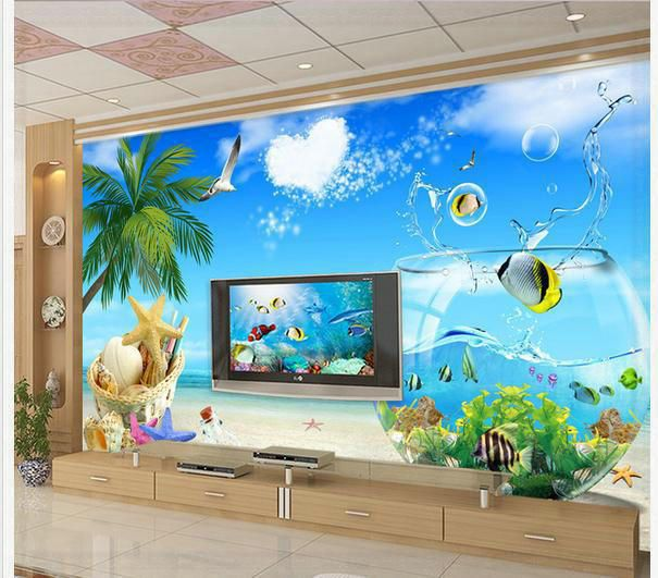 Aquarium Wallpaper For Living Room