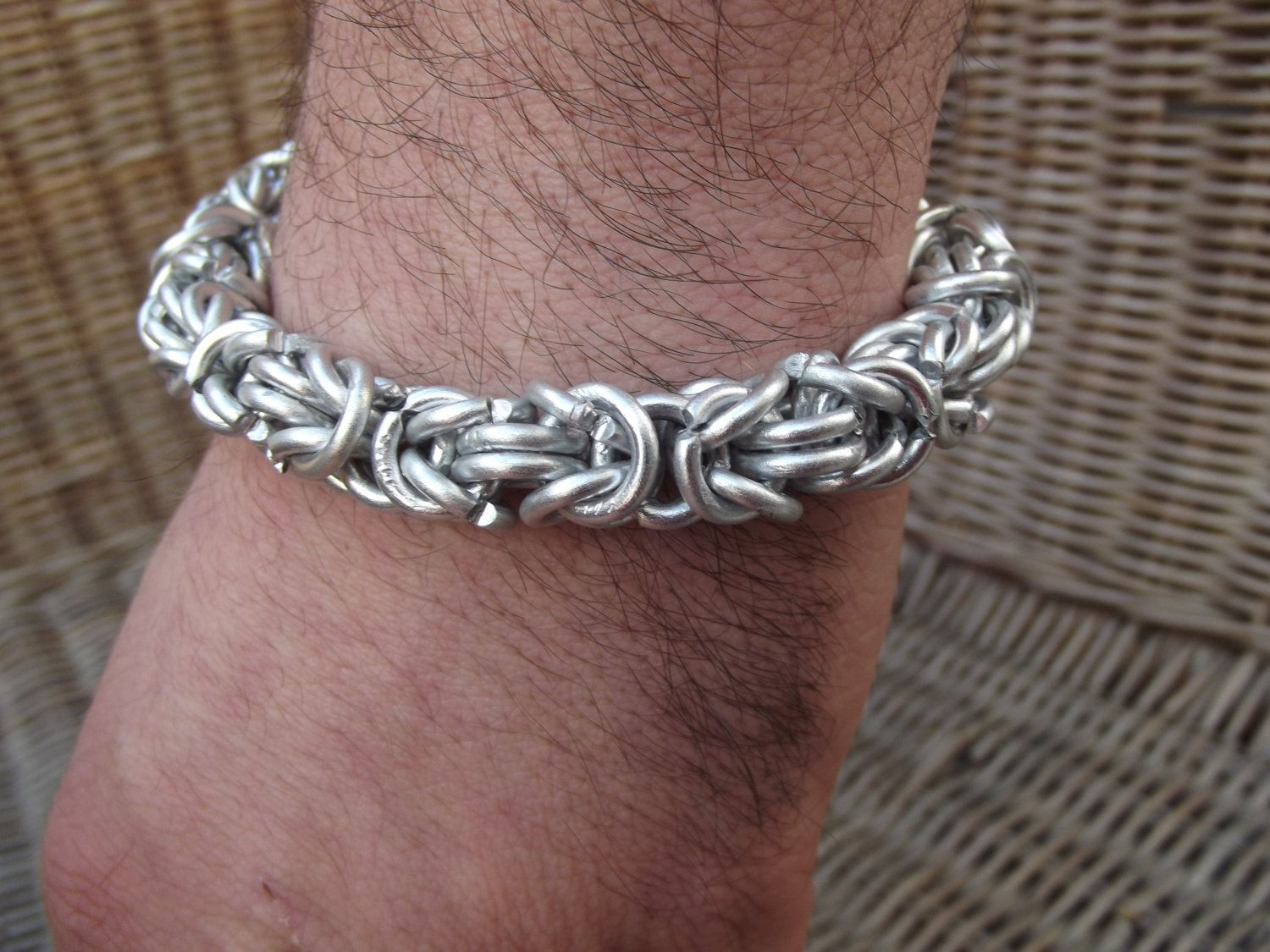 Men silver bracelet, silver tribal chain, woven men silver bracelet ...