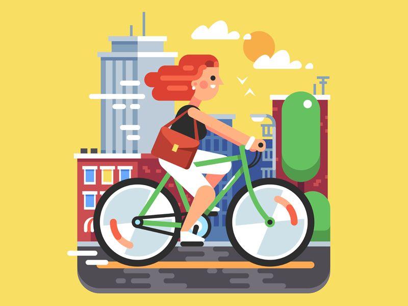 City Bike Ride Bike Ride City Bike Bicycle Illustration