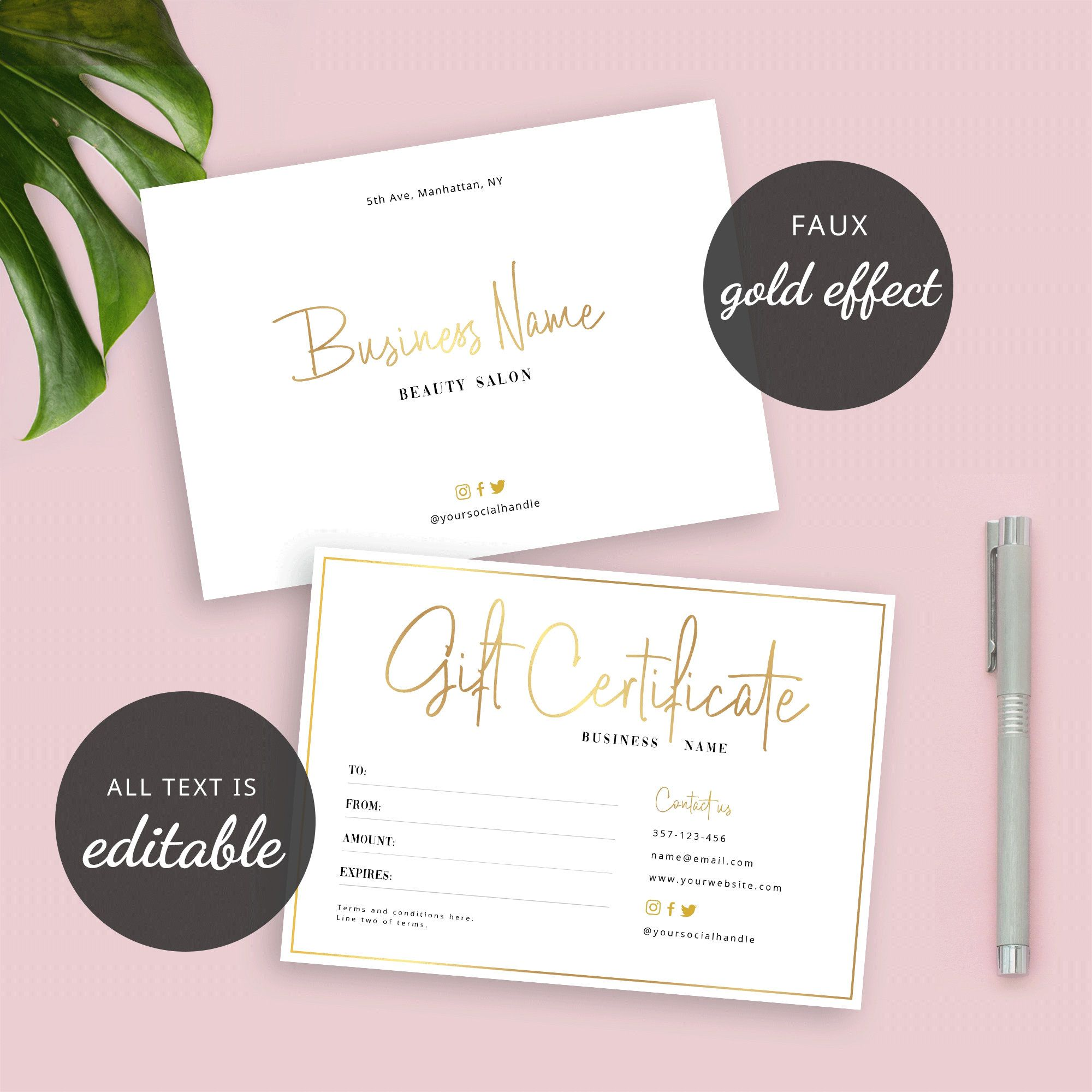 Editable Gift Certificate Template Custom Gift Card Instant Etsy Photography Invoice Template Gift Certificate Template Certificate Templates