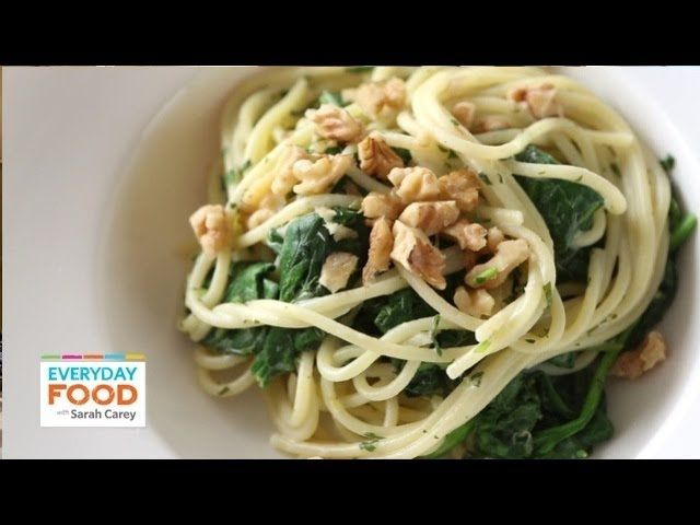 Magnificent lemony pasta with goat cheese and spinach everyday this speedy pasta dish is packed with flavor and bright green color watch everyday food editor sarah carey cook the greeniest pasta shes ever made forumfinder Gallery