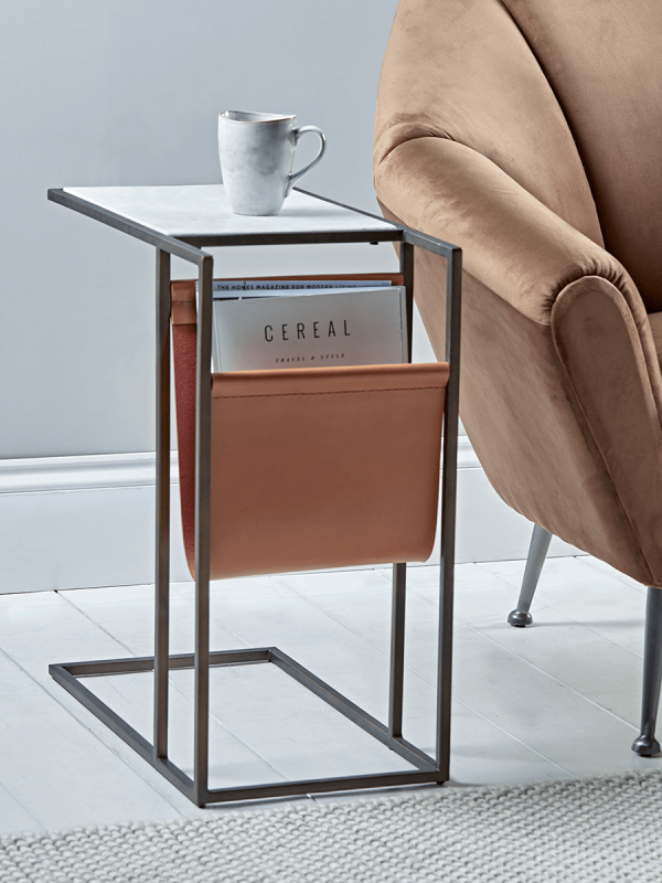 Marble Side Table With Magazine Rack In 2019 Accessories