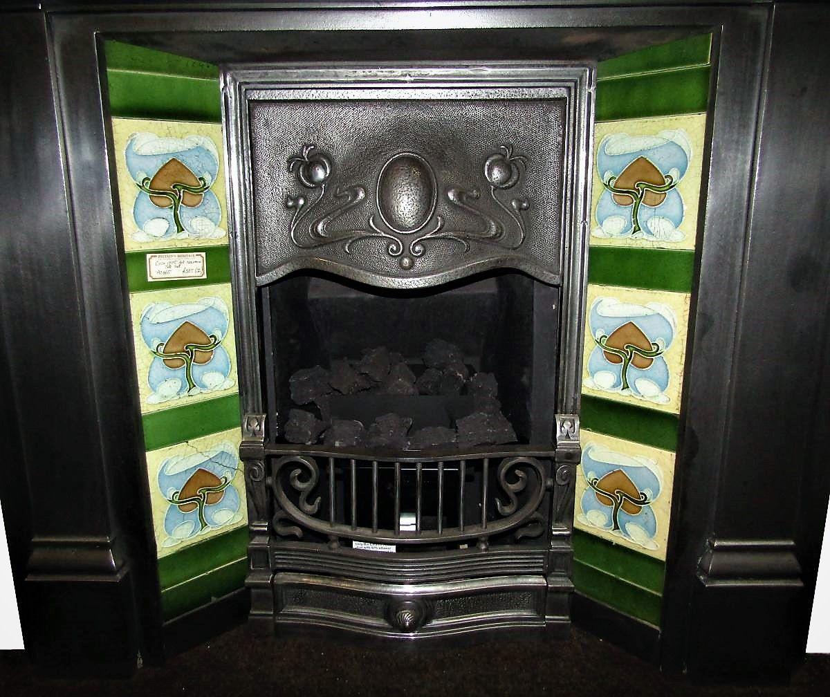 Buy Online See Our Antique 1905 Art Nouveau Fireplace Tile Set Price 346 Part Of Our Antique Tiles Ran Fireplace Tile Edwardian Fireplace Antique Tiles