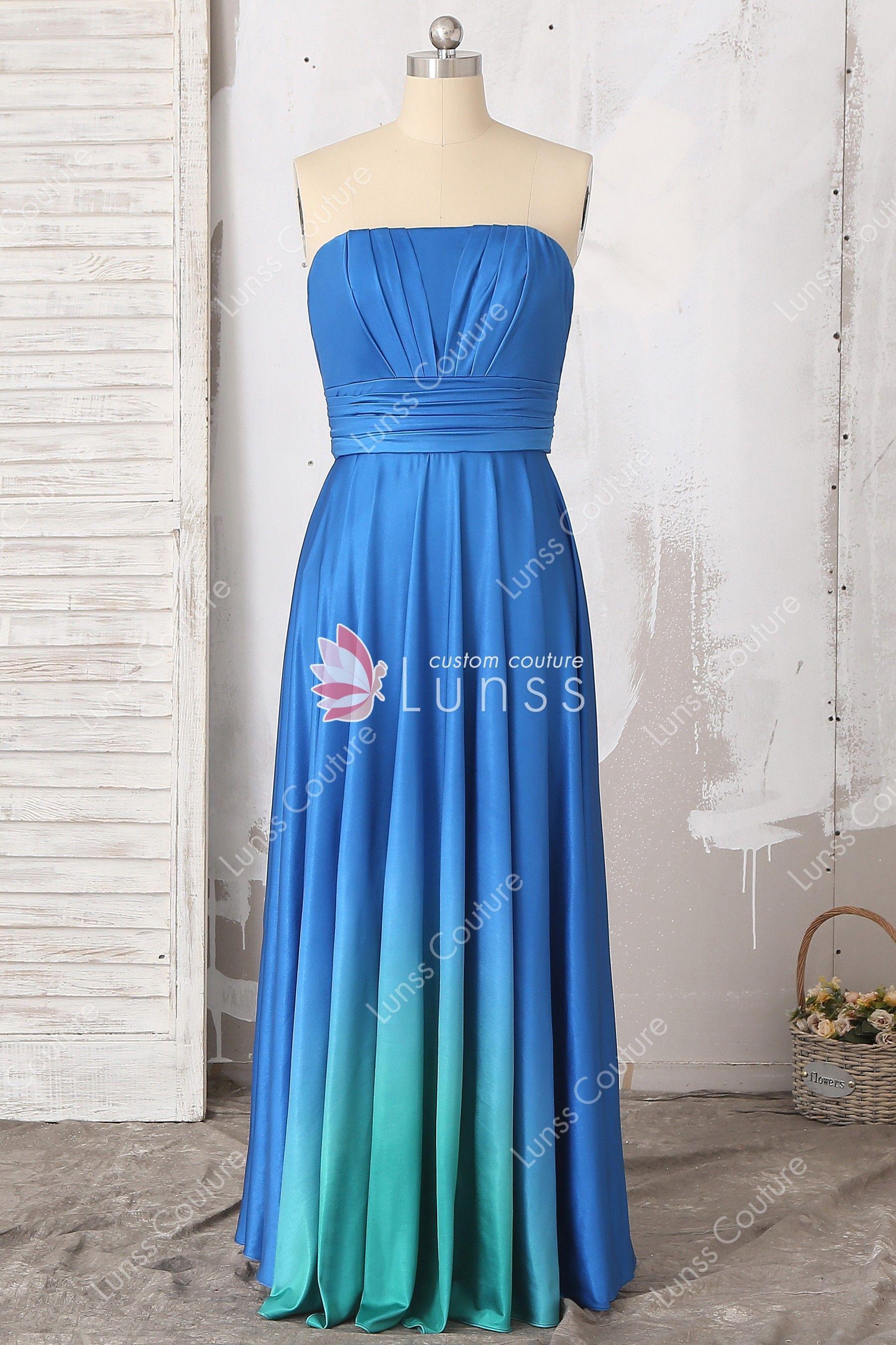 Chic ombre blue jersey sleeveless straight across sheath floor