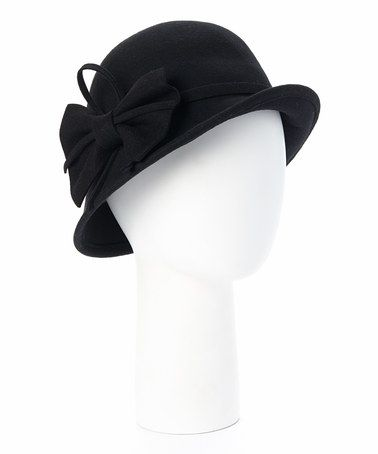 ac30f595653 Look what I found on  zulily! Black Raised-Brim Wool Cloche ...