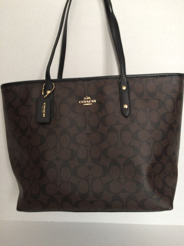 Coach F36876 Brown Black Signature City Zip Tote Handbag Nwt 295 Zip Tote Tote Handbags Shoulder Bag Women