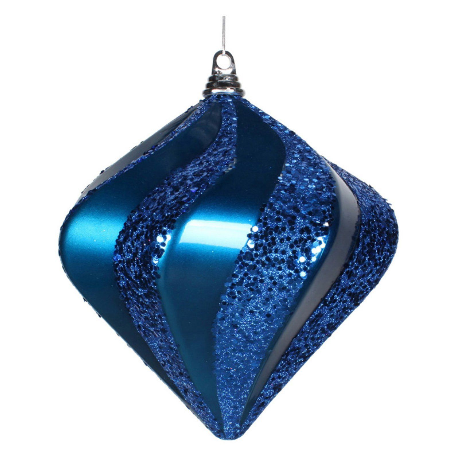 Queens of Christmas 3 Wire and UV Coating 80mm Blue Matte Ball Ornament,