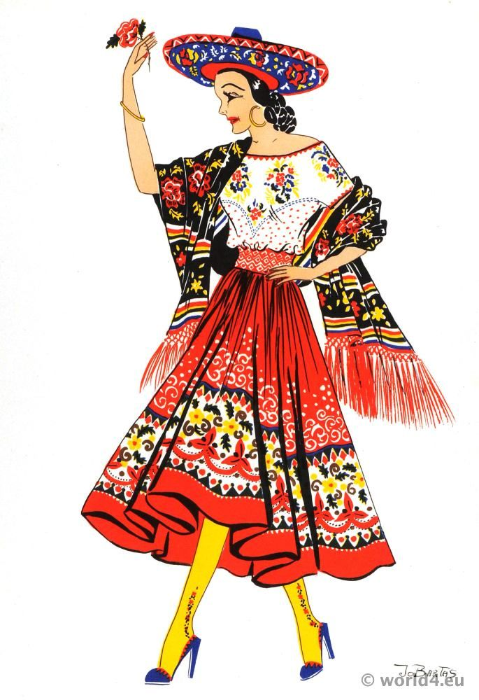 Mexican China Poblana Dance Costume Traditional Mexican Dress Folk Dresses Mexican Fashion