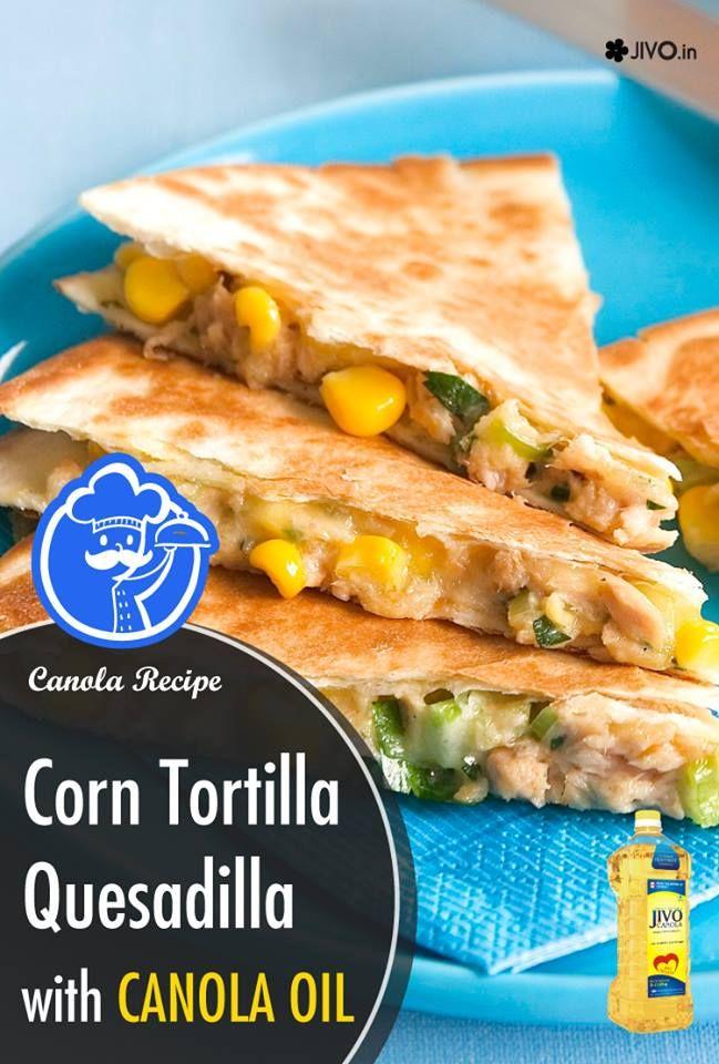 Corn Tortilla Quesadilla with #CanolaOil  Ingredients  Canola oil spray Cheese Corn tortilla Salsa