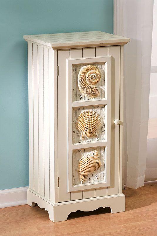 Seashell 1-Door Cabinet - beachdecorshop