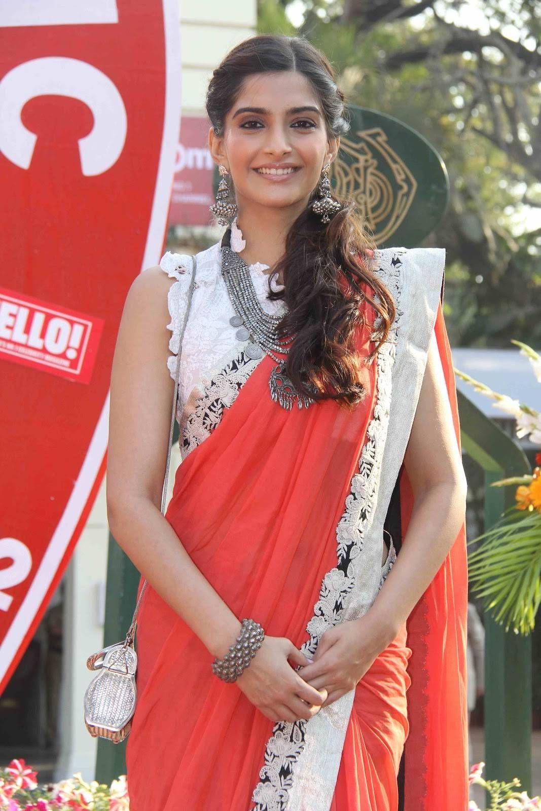 Sonam Kapoor in cute blouse and sari