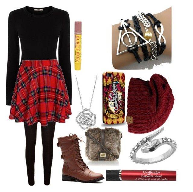 Gryffindor by justlikeluna on Polyvore featuring polyvore, fashion, style, Oasis, Blu Bijoux, BERRICLE and Burt's Bees