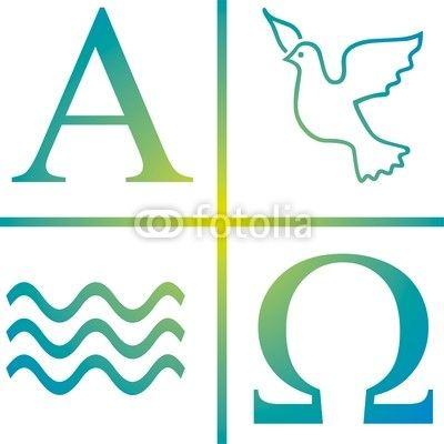 Vektor Symbol Taufe Wasser Taube Alpha Omega Osterkerzen
