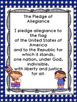 Pledge Of Allegiance Classroom Poster Freebie Preschool Pledge Of Allegiance Kindergarten