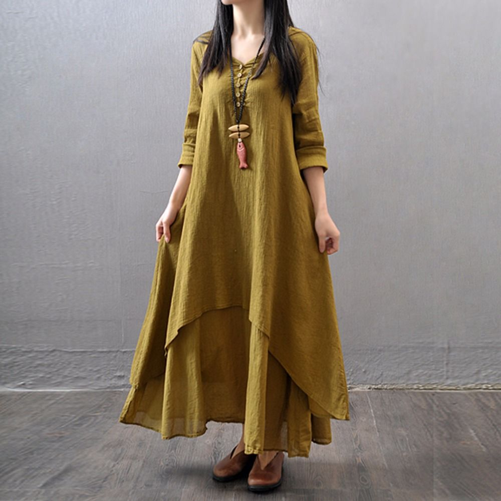 women casual solid autumn dress loose full sleeve v neck button