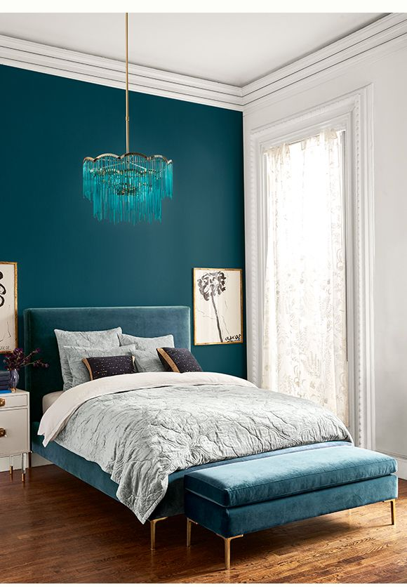 Teal Walls And Velvet Bed Are So Striking In This Bedroom Bedroom Interior Home Decor Bedroom Bedroom Decor