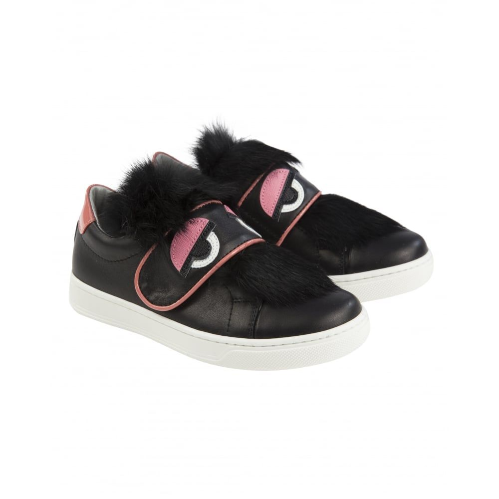 7a0990a25cd50 Fendi Girls Black Trainers with Pink Monster Eye Print and Faux Fur  Detailing