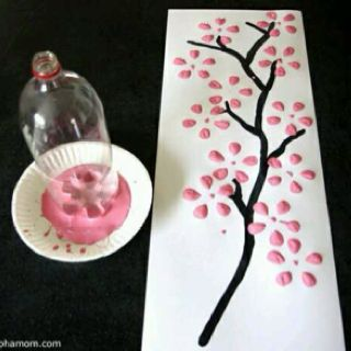 Cherry Blossom Tree Easy To Make With Just A Plastic Bottle And Some Paint
