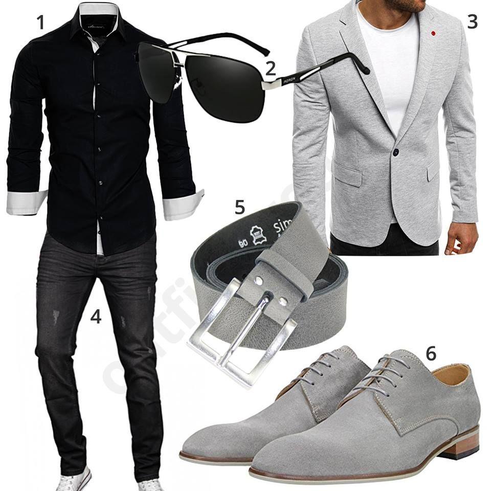 business look mit schwarzem hemd jeans und grauem sakko. Black Bedroom Furniture Sets. Home Design Ideas