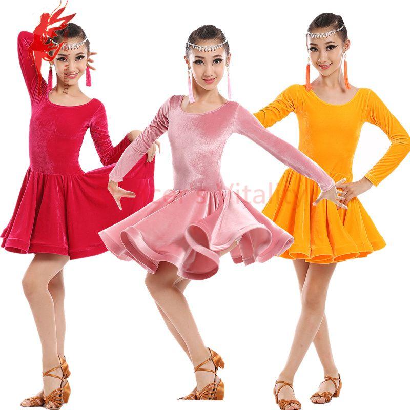 New winter Adult Child Latin dance costume senior velvet long sleeves latin  dance dress for child latin dance dresses S-4XL bdc18bdd5c4b
