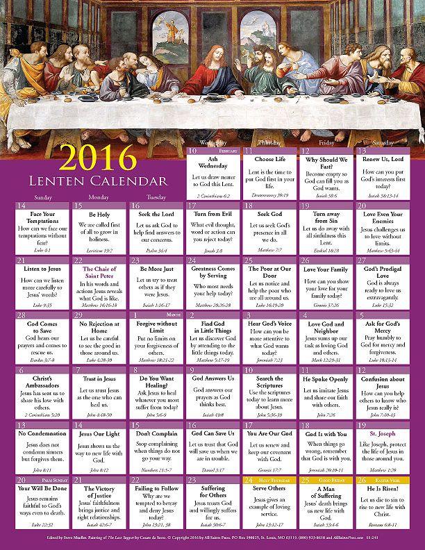 2016 Lent Calendar This Full Color Calendar Selects A Bible Verse
