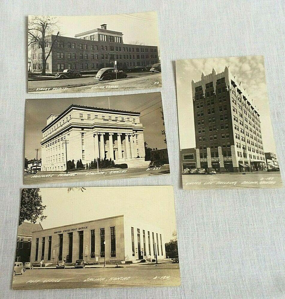 4 Salina Kansas Real Photo Postcards 1945 1950 Masonic Post Office Hospital Salina Kansas Photo Postcards Real Photos