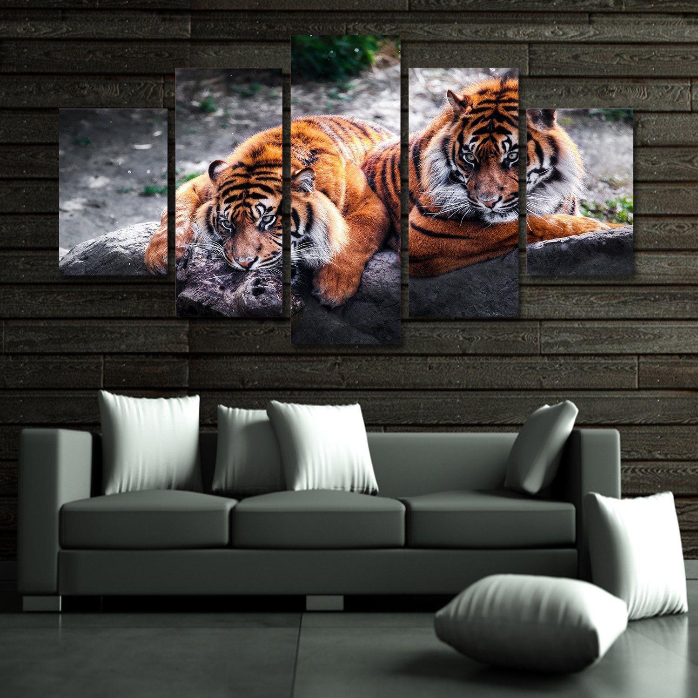 Feasti ng tigers 5 piece canvas wall art canvas wall art