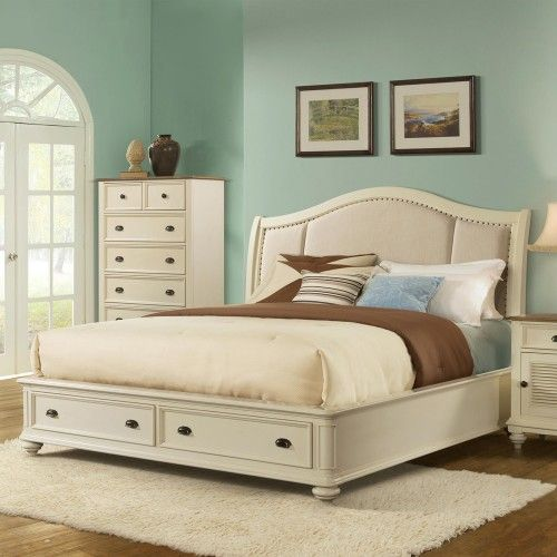 Coventry Upholstered Sleigh Storage Bed in Dover White by Riverside Furniture