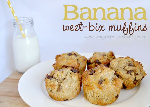 Banana Weet-bix Muffins, only 2 tablespoons of sugar!! #frozenbananarecipes