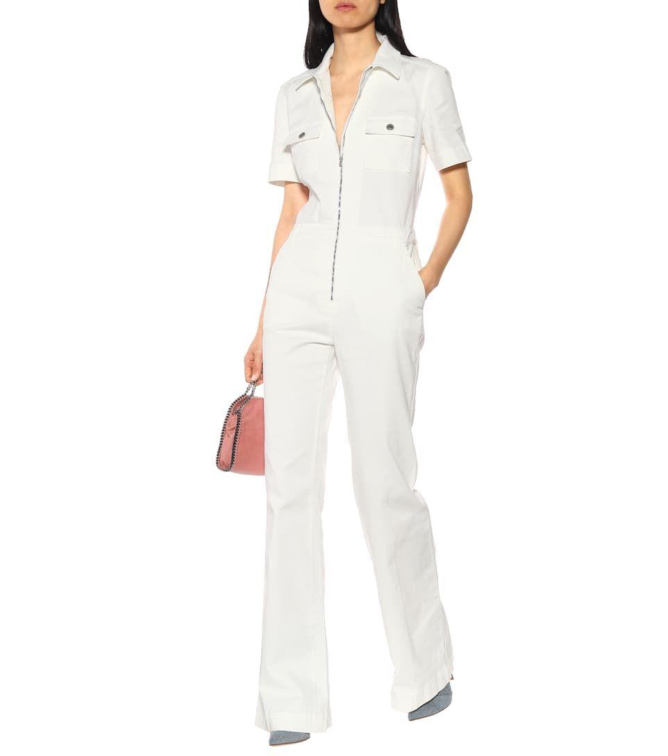 ed588490a8f2 Stretch white denim jumpsuit  white