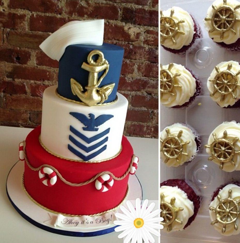 Navy theme cake ⚓ Nautical cake, Cupcake cakes, Cake