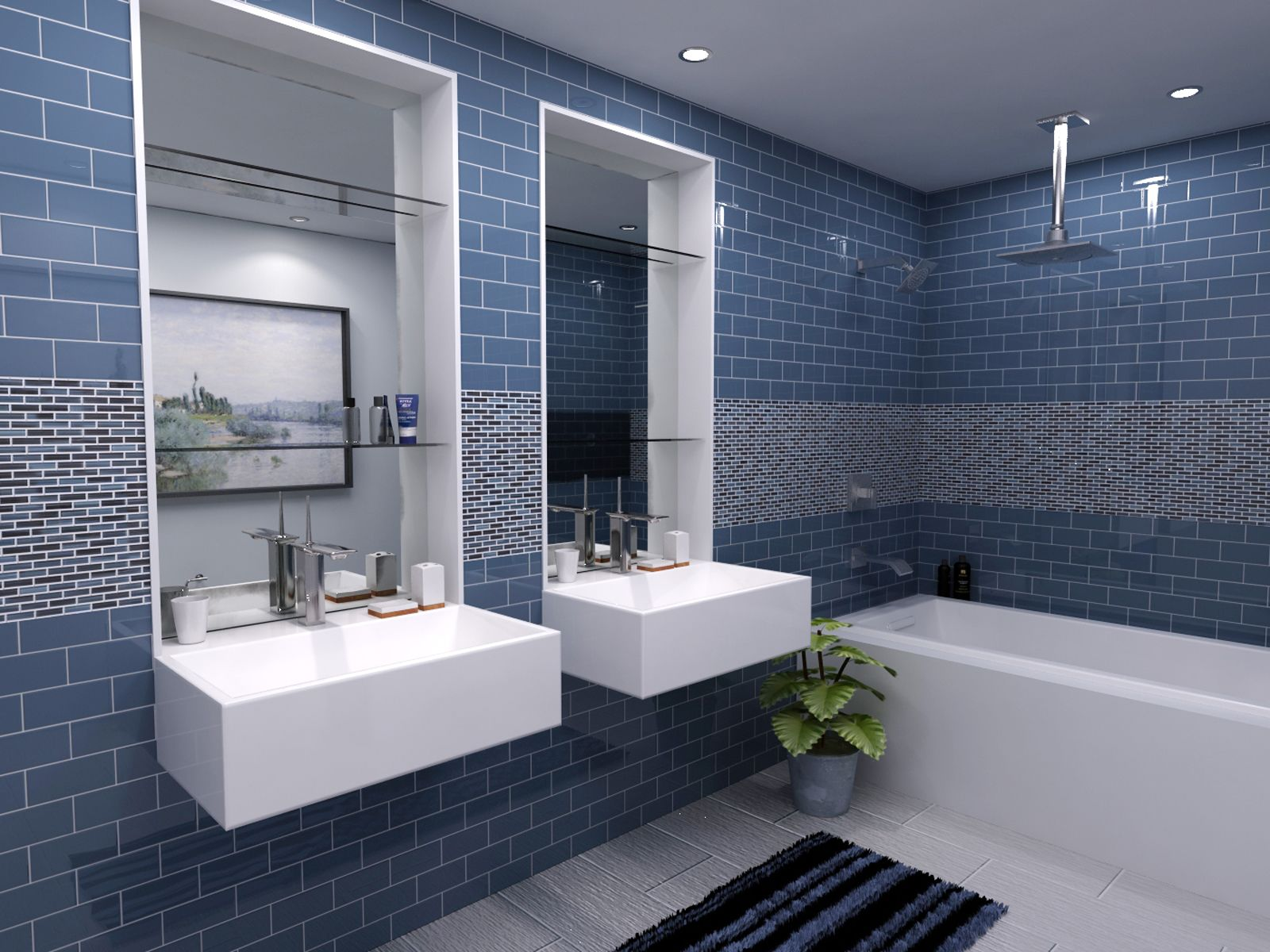 blue glass subway tile bathroom | My Web Value