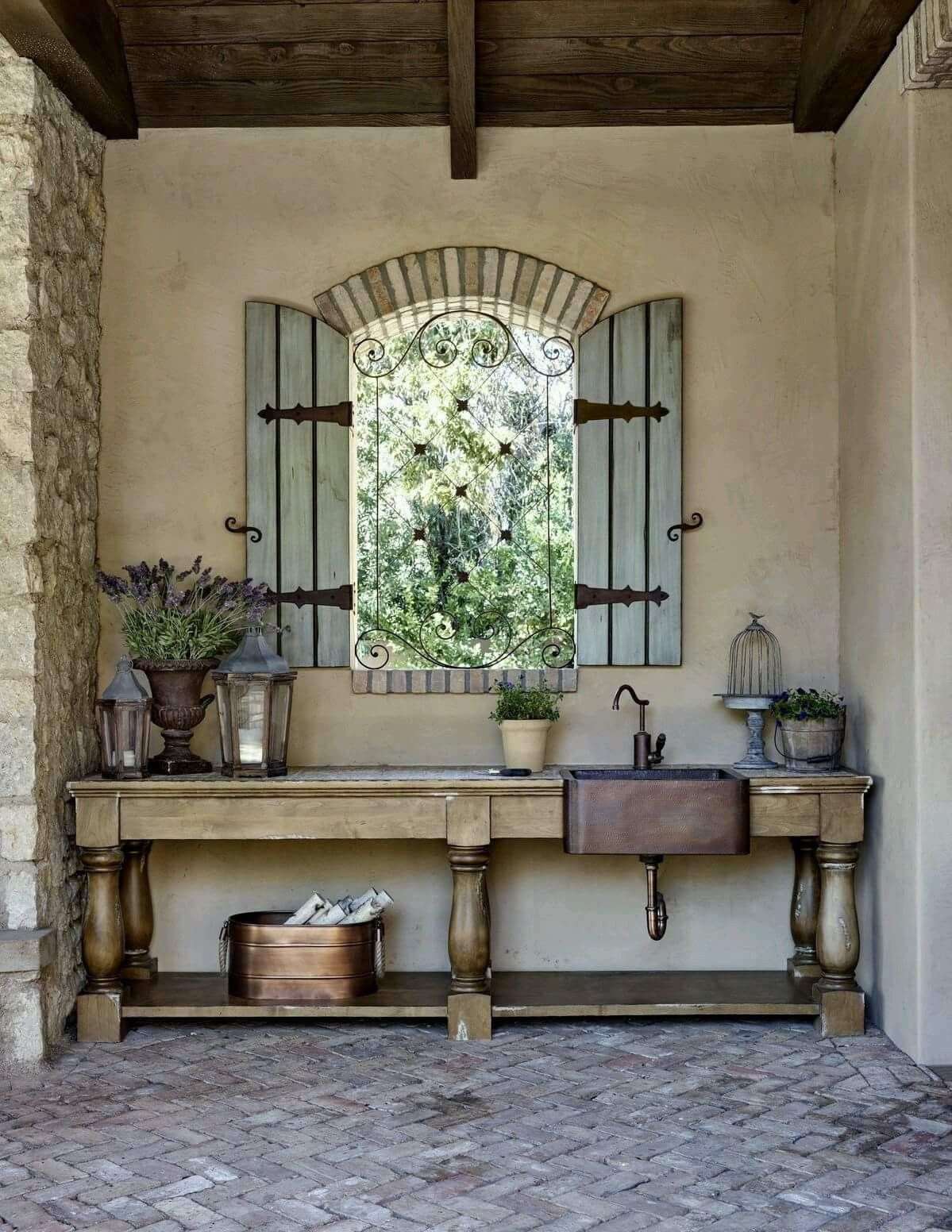 Rustic French, shutters on front of house, I like the ...