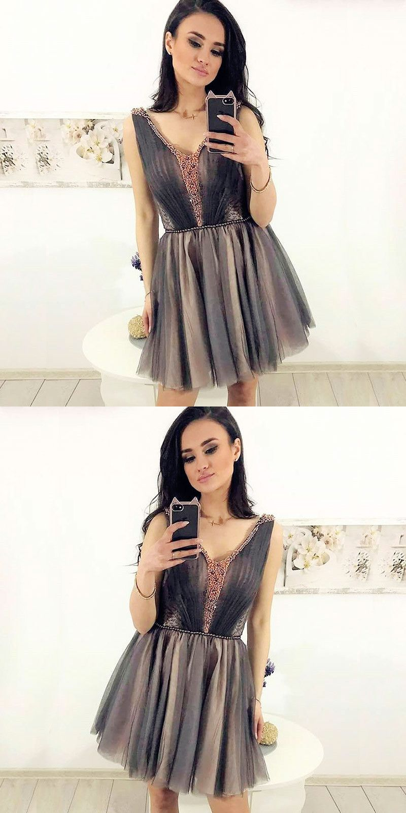 Aline vneck pleated grey tulle short homecoming dress with lace