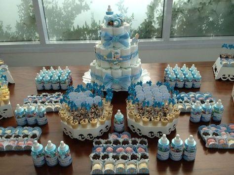 Kit Cha De Fraldas Azul E Branco Atelie Cheiro De Limao Com